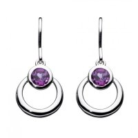 Kit Heath - Amethyst Set, Silver St Society Gemme Drop Earrings