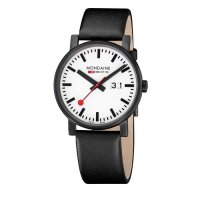 Mondaine - Black Stainless Steel and Black Leather Big Date Watch