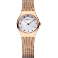 Bering - Classic, Stainless Steel/Rose Gold Plated Milanese Bracelet Watch