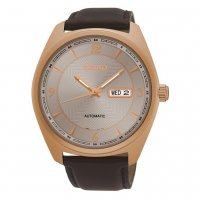 Seiko - Gents Automatic, Rose Gold Plated with Brown Leather Day / Date Watch