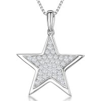 Jools - Cubic Zirconia Set, Silver Star Necklace