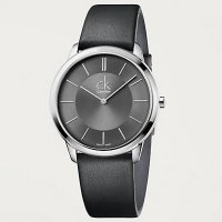 Calvin Klein - Men's Minimal, Stainless Steel, Leather Strap Watch