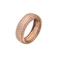Virtue - Cubic Zirconia Set, Sterling Silver Rose Gold Ring, Size P