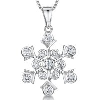 Jools - Cubic Zirconia Set, Silver Snowflake Necklace