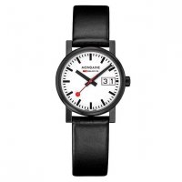Mondaine - Ladies, Stainless Steel and Black Leather Big Date Square Watch