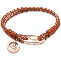 Unique - Leather and Rose Gold Plated Steel Tree Charm Bracelet