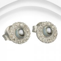 Banyan - Blue Topaz and Cubic Zirconia Set, Silver Stud Earrings
