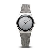 Bering - Classic Ladies, Swarovski Crystal Set, Stainless Steel Mesh Strap Watch