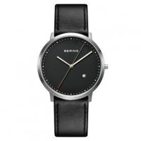 Bering - Classic, Sapphire Glass Set, Black Leather Watch