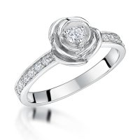 Jools - Cubic Zirconia Set, Silver Rose Ring, Size P