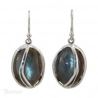 Banyan - Labradorite Set, Sterling Silver Hook Drop Earrings