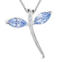 Jools - Cubic Zirconia and Blue Topaz Set, Silver Dragonfly Necklace/ Brooch