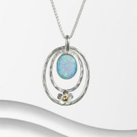 Banyan - Opalite Set, Silver with Flower Pendant
