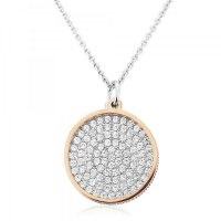 Waterford - C/Z Set, Rose/Silver Disc Pendant and Chain, Size 16inch