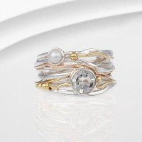 Banyan - Green Amethyst and Pearl Set, Silver and Gold Ring, Size M