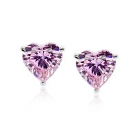 Carat London - Cubic Zirconia Set, 9ct White Gold Heart Shape Stud Earrings, Size 1ct