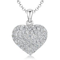 Jools - Cubic Zirconia Set, Silver Pavé Heart Necklace