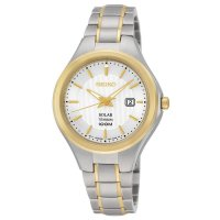 Seiko - Ladies, Solar Titanium, Two Tone Date Square Watch