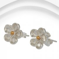 Banyan - Sterling Silver Flower Stud with brass and matt centre Earrings