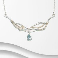 Banyan - Pear Shaped Blue Topaz Set, Silver Organic, Teardrop Necklace