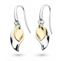 Kit Heath - Enchanted, Sterling Silver With Gold Plating Double Leaf, Drop Earrings