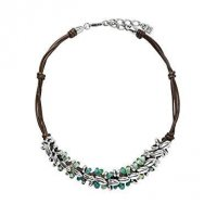 Uno de 50 - Sowing, Glass Beads Set, Brown Leather and Silver Plated Bead Necklace
