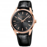 Calvin Klein - Men's Formality, Rose Gold Plated with Leather Strap Brown Dial Watch