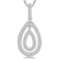 Jools - Cubic Zirconia Set, Silver Teardrop Necklace