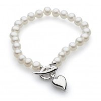 Kit Heath - Desire Lustrous Heart, Freshwater 6mm Pearl Set, Sterling Silver T-Bar Bracelet