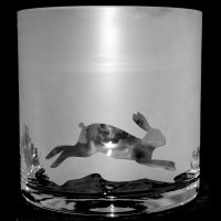 Animo Glass - Hare Pattern, Etched Frosted Glass Candle Holder / Vase