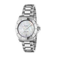 Gucci - Dive, Diamond Set, Stainless Steel Mother of Pearl Dial Watch