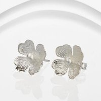 Banyan - Montana, Silver Flower Stud Earrings