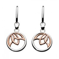 Kit Heath - Blossom Lotus, Sterling Silver With Rose Gold Plated Drop Earrings