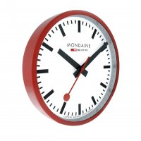 Mondaine - White Dial, Red Frame Wall Clock