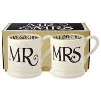 Emma Bridgewater - Black Toast, Mr And Mrs, Set Of 2 Pottery 1/2 Pint Mugs