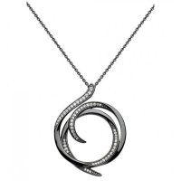 Kit Heath - Helix, Sterling Silver and Ruthenium Pave Necklace, Size 20""