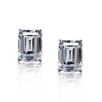 Carat London - Cubic Zirconia Set, 9ct White Gold Emerald Cut Stud Earring, Size 1ct