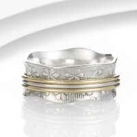 Banyan - Sterling Silver Floral Textured Spinner Ring, Size M