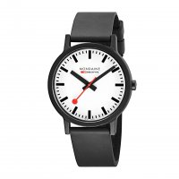 Mondaine - Essence 40mm Black Stainless Steel Case with Resin Strap. Watch