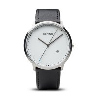 Bering - Men's Classic Collection, Stainless Steel and Black Leather Watch
