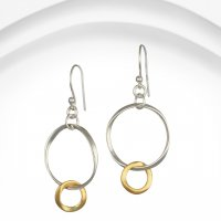 Banyan - Silver and Gold Plate Two Tone, Hoop Earrings