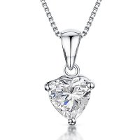 Jools - Cubic Zirconia Set, Silver Drop Heart Necklace.