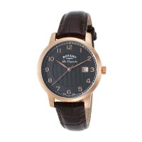 Rotary - Men's Les Orignales, Rose Gold Plated, Brown Leather Strap Watch