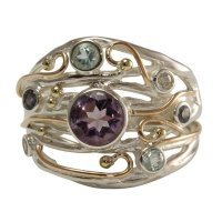 Banyan - Amethyst, Lolite and Cubic Zirconia Silver Ring, Size P