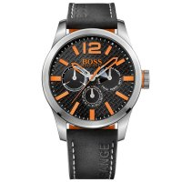 Hugo Boss - Boss Orange, Paris, Stainless Steel and Black Leather Watch