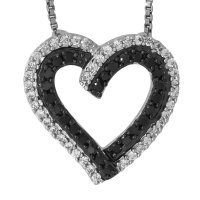 Jools - Cubic Zirconia Set, Silver Heart Necklace