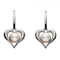 Kit Heath - Amelia, Sterling Silver and Rose Gold Plated, Heart Drop Earrings