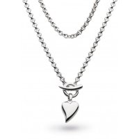 Kit Heath - Desire Lavish Lust, Sterling Silver T-Bar Heart Necklace, Size 18""