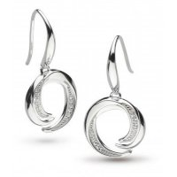 Kit Heath - Cubic Zirconia Set, Silver Twine Helix Pave Drop Earrings