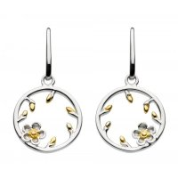 Kit Heath - Wood Rose Bud, Gold Plate Drop Earrings
